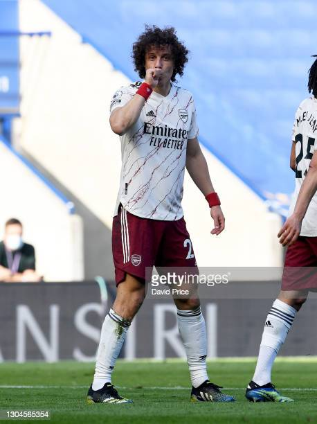 David Luiz celebrates scoring Arsenal's 2nd goal during the Premier League match between Leicester City and Arsenal at The King Power Stadium on...