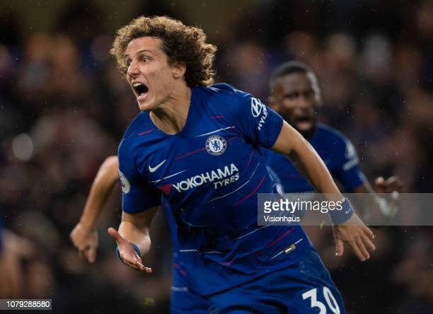 David Luiz celebrates scoring Chelsea's second goal during the Premier League match between Chelsea FC and Manchester City at Stamford Bridge on...