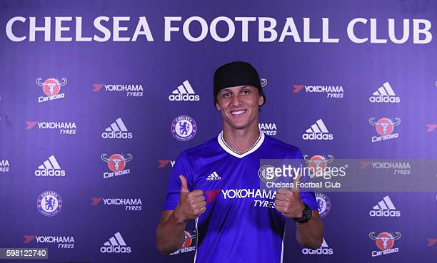 David Luiz is unveiled as Chelsea's new signing at Chelsea Training Ground on August 31 2016 in Cobham England