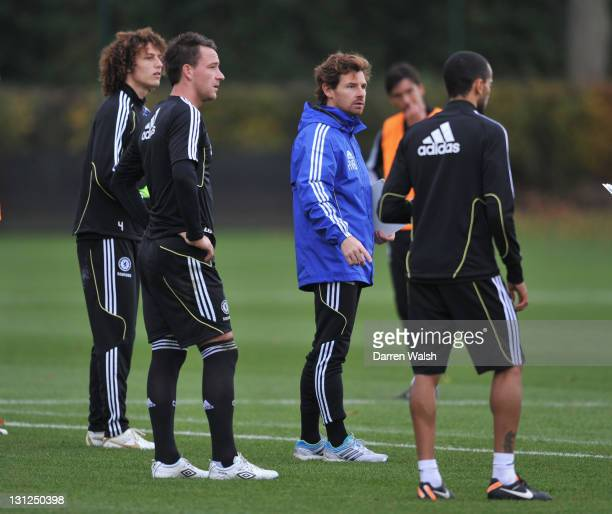 David Luiz, John Terry, Andre Villas-Boas of Chelsea during a training session at the Cobham training ground on November 3, 2011 in Cobham, England.