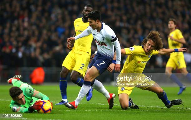David Luiz Kepa Arrizabalaga and Antonio Rudiger of Chelsea FC and HeungMin Son of Tottenham Hotspur in action during the Premier League match...