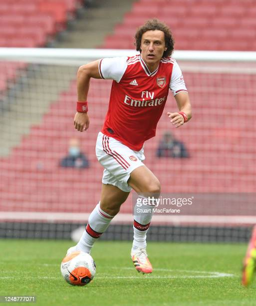 David Luiz of Arsenal during a friendly match between Arsenal and Brentford at Emirates Stadium on June 10 2020 in London England