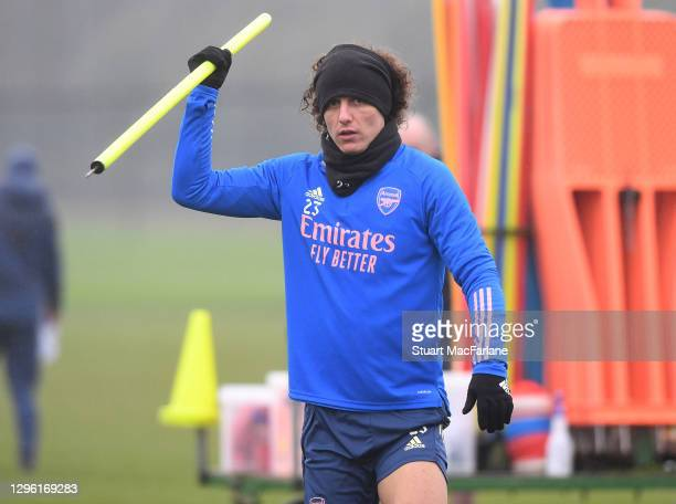 David Luiz of Arsenal during a training session at London Colney on January 13, 2021 in St Albans, England.