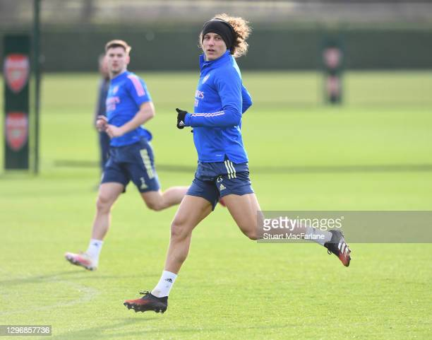 David Luiz of Arsenal during a training session at London Colney on January 17, 2021 in St Albans, England.