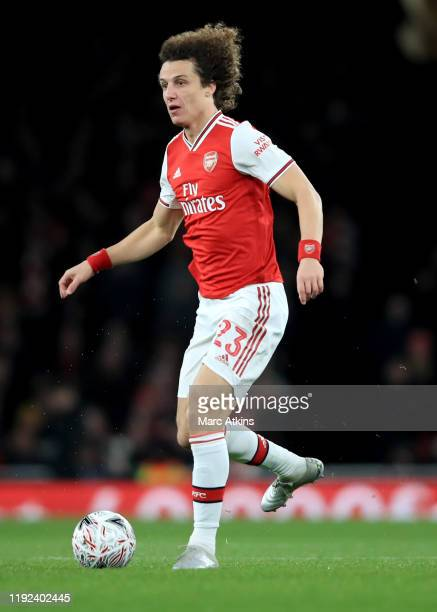 David Luiz of Arsenal during the FA Cup Third Round match between Arsenal and Leeds United at Emirates Stadium on January 6 2020 in London England