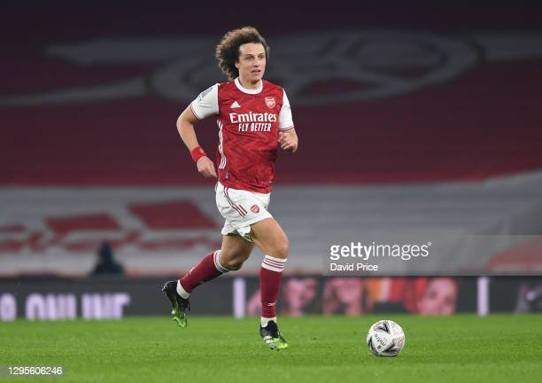David Luiz of Arsenal during the FA Cup Third Round match between Arsenal and Newcastle United on January 09, 2021 in London, England.