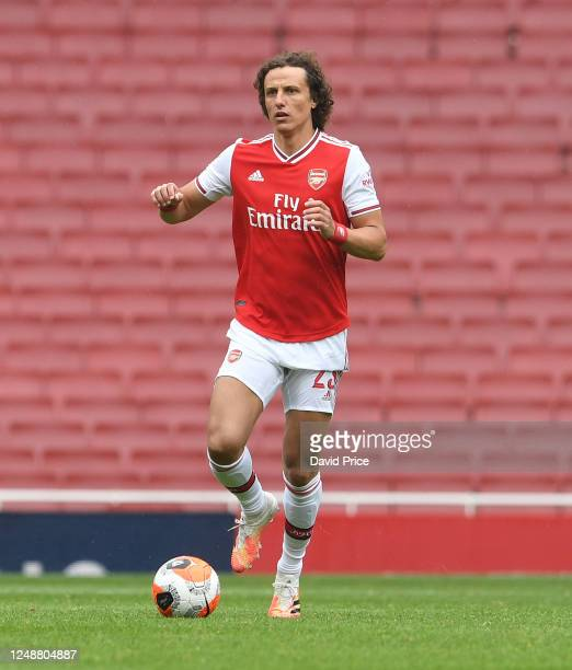 David Luiz of Arsenal during the friendly match between Arsenal and Brentford at Emirates Stadium on June 10 2020 in London England