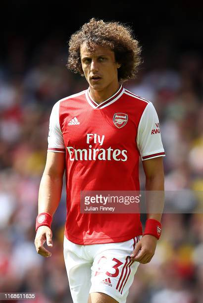David Luiz of Arsenal during the Premier League match between Arsenal FC and Burnley FC at Emirates Stadium on August 17, 2019 in London, United...