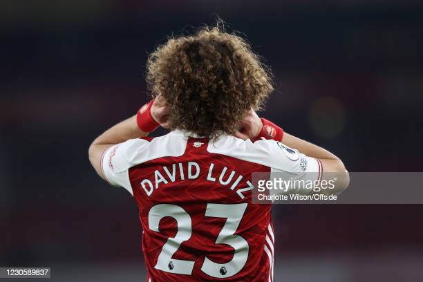 David Luiz of Arsenal during the Premier League match between Arsenal and Crystal Palace at Emirates Stadium on January 14, 2021 in London, United...