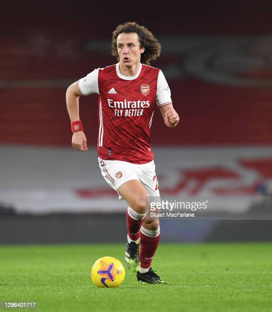 David Luiz of Arsenal during the Premier League match between Arsenal and Crystal Palace at Emirates Stadium on January 14, 2021 in London, England....