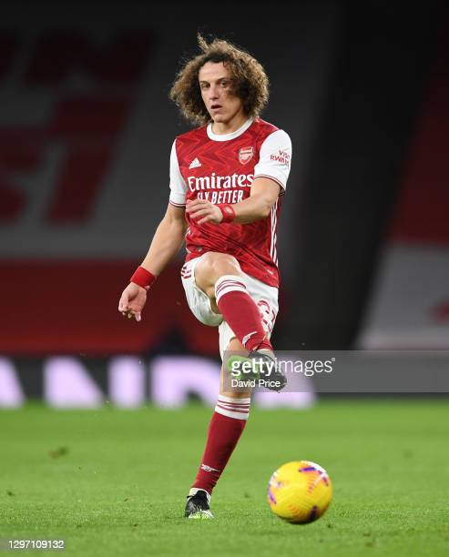 David Luiz of Arsenal during the Premier League match between Arsenal and Newcastle United at Emirates Stadium on January 18, 2021 in London,...