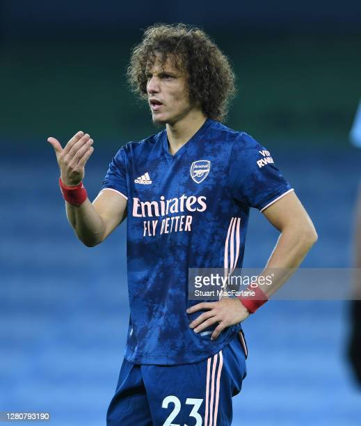 David Luiz of Arsenal during the Premier League match between Manchester City and Arsenal at Etihad Stadium on October 17 2020 in Manchester England...