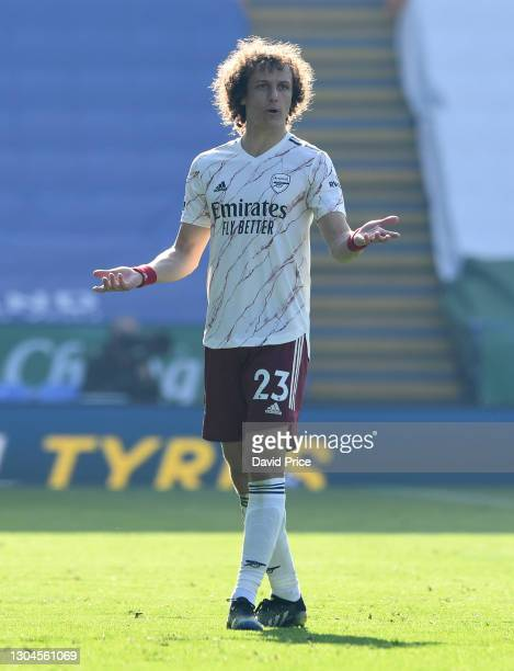 David Luiz of Arsenal during the Premier League match between Leicester City and Arsenal at The King Power Stadium on February 28, 2021 in Leicester,...