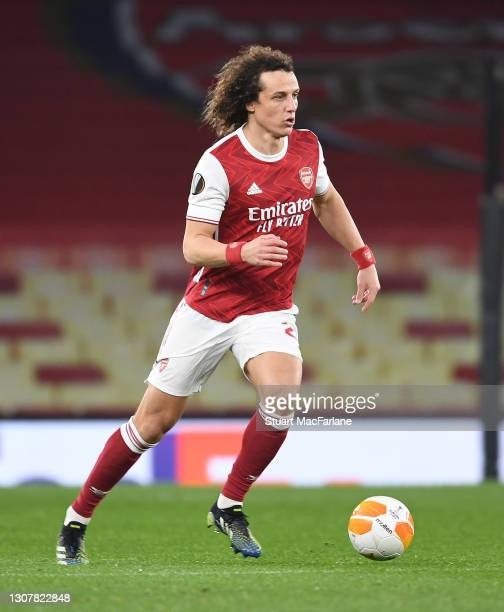David Luiz of Arsenal during the UEFA Europa League Round of 16 Second Leg match between Arsenal and Olympiacos at Emirates Stadium on March 18, 2021...