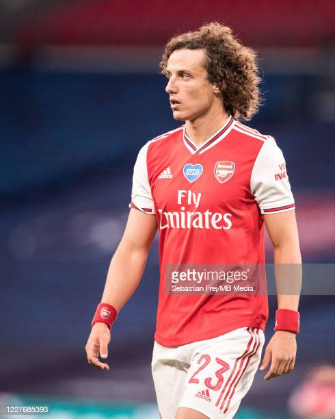 David Luiz of Arsenal looks on during the FA Cup Semi Final match between Arsenal and Manchester City at Wembley Stadium on July 18 2020 in London...