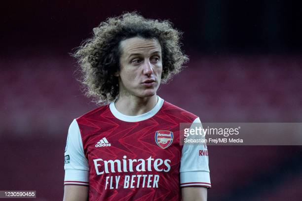 David Luiz of Arsenal looks on during the Premier League match between Arsenal and Crystal Palace at Emirates Stadium on January 14, 2021 in London,...