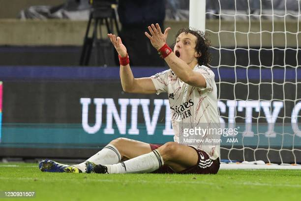 David Luiz of Arsenal reacts after a tackle which results in a red card and a penalty during the Premier League match between Wolverhampton Wanderers...