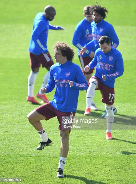 David Luiz of Arsenal warms up before the Premier League match between Leicester City and Arsenal at The King Power Stadium on February 28, 2021 in...