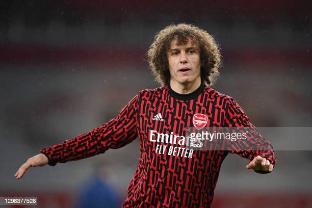 David Luiz of Arsenal warms up prior to the Premier League match between Arsenal and Crystal Palace at Emirates Stadium on January 14, 2021 in...