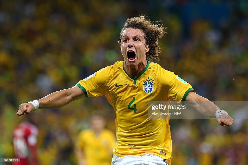 David Luiz of Brazil celebrates scoring his team's second goal during the 2014 FIFA World Cup Brazil Quarter Final match between Brazil and Colombia at Estadio Castelao on July 4, 2014 in Fortaleza, Brazil.