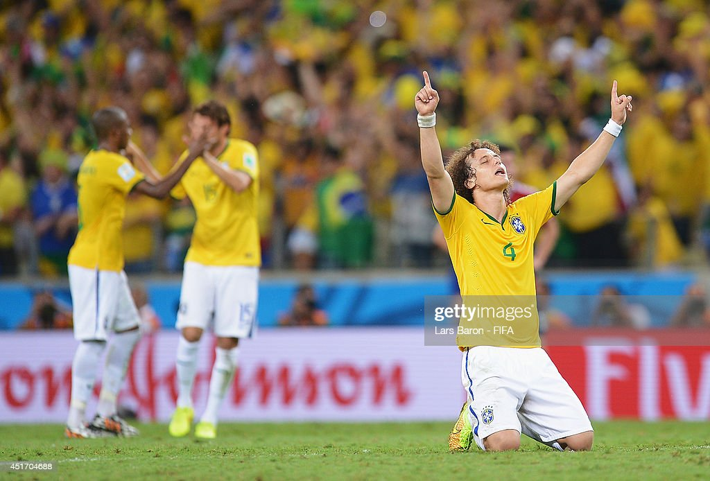 David Luiz of Brazil celebrates the 2-1 win after the 2014 FIFA World Cup Brazil Quarter Final match between Brazil and Colombia at Estadio Castelao on July 4, 2014 in Fortaleza, Brazil.