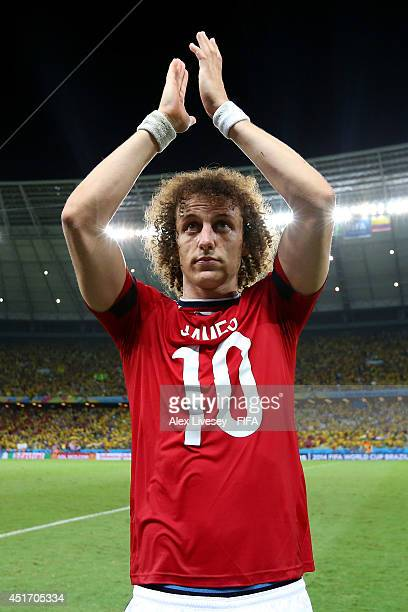 David Luiz of Brazil celebrates the 21 win after the 2014 FIFA World Cup Brazil Quarter Final match between Brazil and Colombia at Estadio Castelao...
