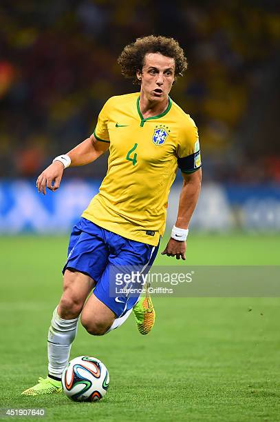 David Luiz of Brazil during the 2014 FIFA World Cup Brazil Semi Final match between Brazil and Germany at Estadio Mineirao on July 8 2014 in Belo...