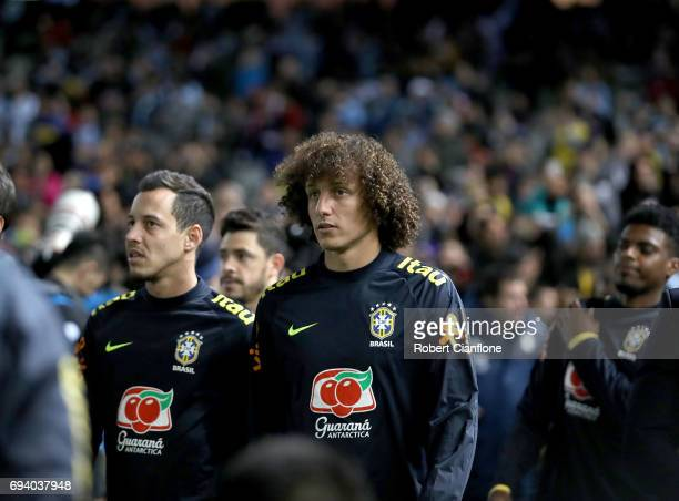David Luiz of Brazil is seen prior to the Brazil Global Tour match between Brazil and Argentina at Melbourne Cricket Ground on June 9 2017 in...