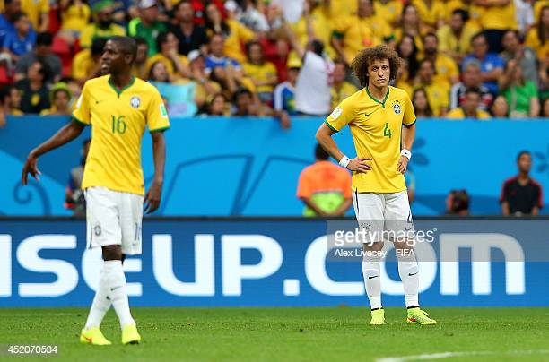 David Luiz of Brazil reacts after conceding the second goal to the Netherlands during the 2014 FIFA World Cup Brazil 3rd Place Playoff match between...