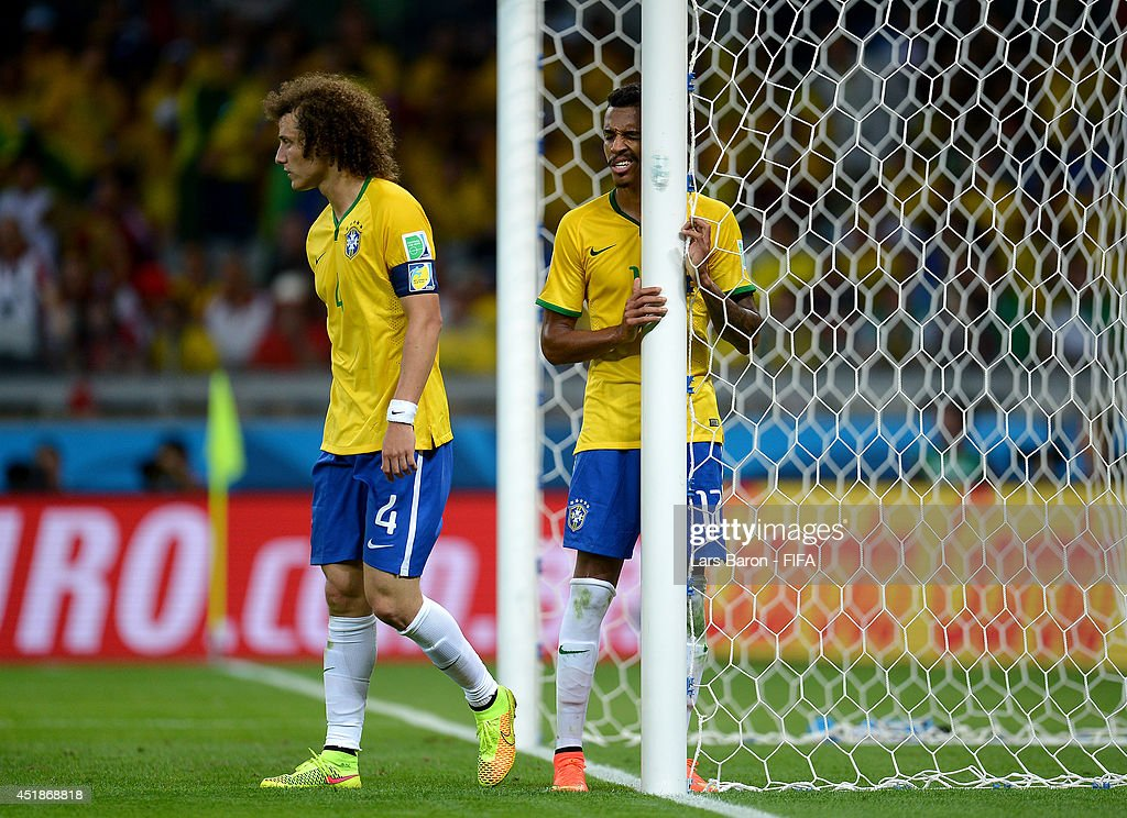 David Luiz of Brazil reacts during the 2014 FIFA World Cup Brazil Semi Final match between Brazil and Germany at Estadio Mineirao on July 8, 2014 in Belo Horizonte, Brazil.