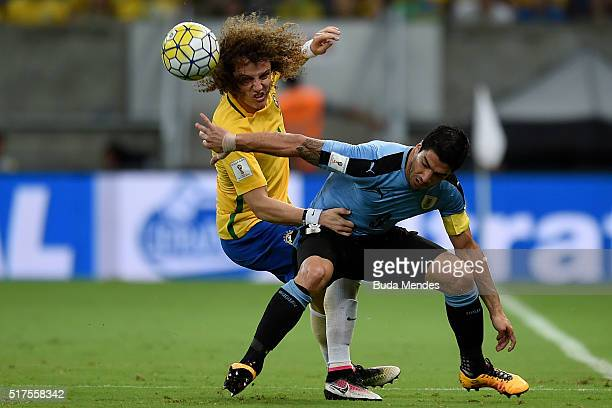 David Luiz of Brazil struggles for the ball with Luis Suarez of Uruguay during a match between Brazil and Uruguay as part of 2018 FIFA World Cup...