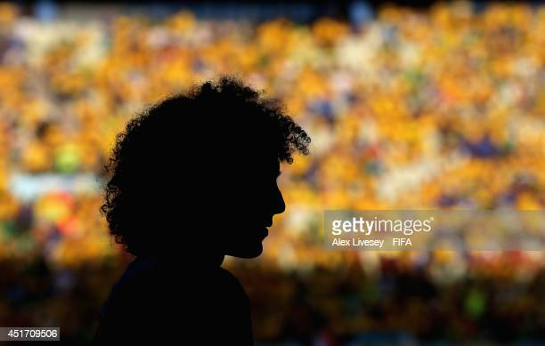 David Luiz of Brazil warms up during the 2014 FIFA World Cup Brazil Quarter Final match between Brazil and Colombia at Estadio Castelao on July 4...