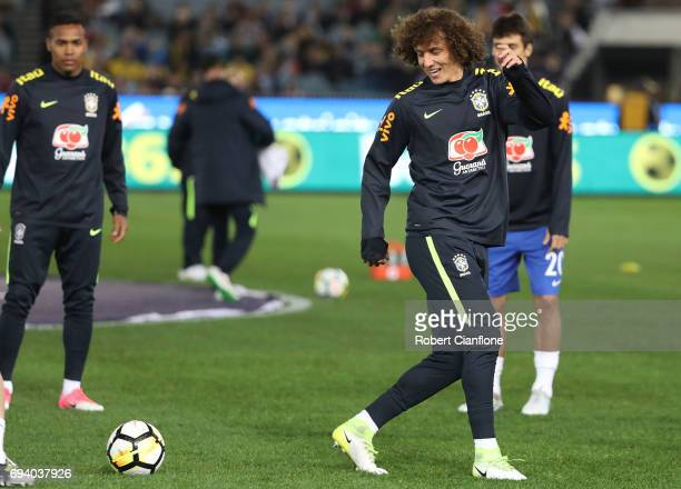 David Luiz of Brazil warms up for the Brazil Global Tour match between Brazil and Argentina at Melbourne Cricket Ground on June 9 2017 in Melbourne...