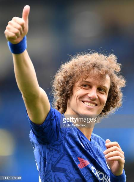 David Luiz of Chelsea acknowledges the fans after the Premier League match between Chelsea FC and Watford FC at Stamford Bridge on May 05 2019 in...