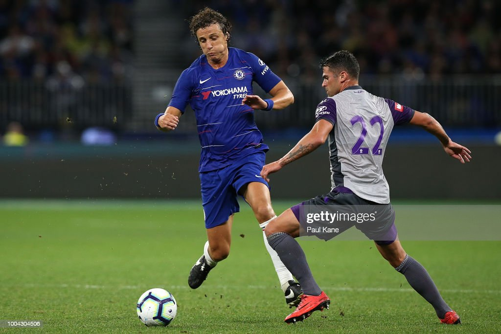David Luiz of Chelsea and Fabio Ferreira of the Glory contest for the ball during the international friendly between Chelsea FC and Perth Glory at Optus Stadium on July 23, 2018 in Perth, Australia.