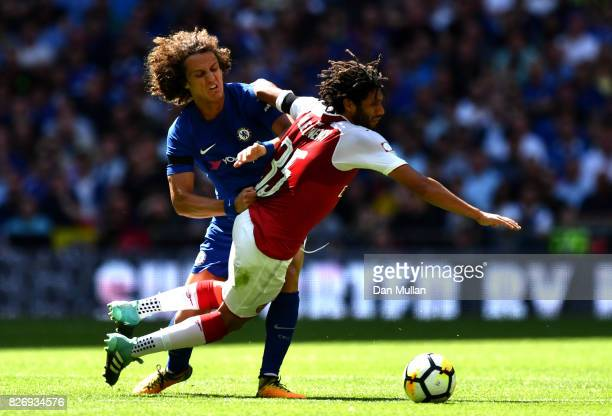 David Luiz of Chelsea and Mohamed Elneny of Arsenal battle for possession during the The FA Community Shield final between Chelsea and Arsenal at...