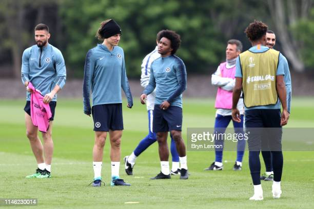 David Luiz of Chelsea and team mates during a Chelsea training session ahead of their UEFA Europa League semifinal first leg match against Eintracht...