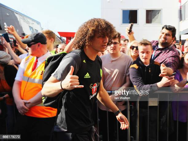 David Luiz of Chelsea arrives at the stadium prior to the Premier League match between AFC Bournemouth and Chelsea at Vitality Stadium on April 8...