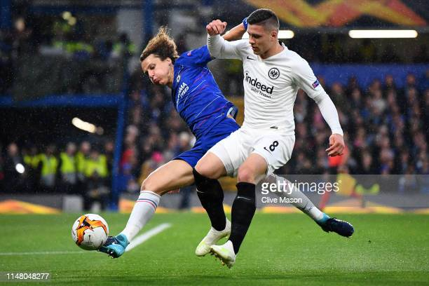 David Luiz of Chelsea battles for possession with Luka Jovic of Eintracht Frankfurt during the UEFA Europa League Semi Final Second Leg match between...