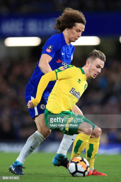 David Luiz of Chelsea battles with James Maddison of Norwich during The Emirates FA Cup Third Round Replay match between Chelsea and Norwich City at...