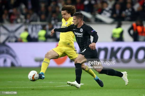 David Luiz of Chelsea battles with Luka Jovic of Eintracht Frankfurt during the UEFA Europa League Semi Final First Leg match between Eintracht...