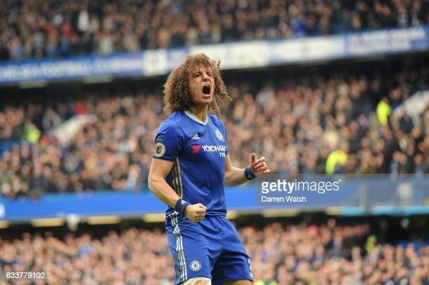 David Luiz of Chelsea celebrates after Marcos Alonso of Chelsea scored the opening goal during the Premier League match between Chelsea and Arsenal...