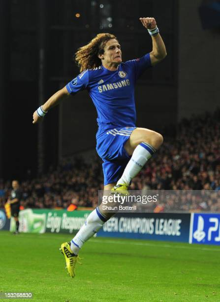 David Luiz of Chelsea celebrates after scoring during the UEFA Champions League Group E match between FC Nordsjaelland and Chelsea at Parken Stadium...