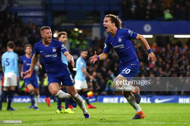 David Luiz of Chelsea celebrates after scoring his team's second goal during the Premier League match between Chelsea FC and Manchester City at...