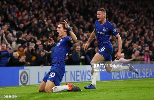 David Luiz of Chelsea celebrates after scoring his team's second goal with Ross Barkley during the Premier League match between Chelsea FC and...
