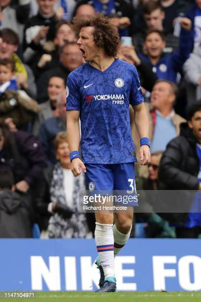 David Luiz of Chelsea celebrates after scoring his team's second goal during the Premier League match between Chelsea FC and Watford FC at Stamford...