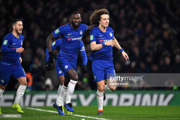 David Luiz of Chelsea celebrates after scoring the winning penalty during the Carabao Cup SemiFinal Second Leg match between Chelsea and Tottenham...