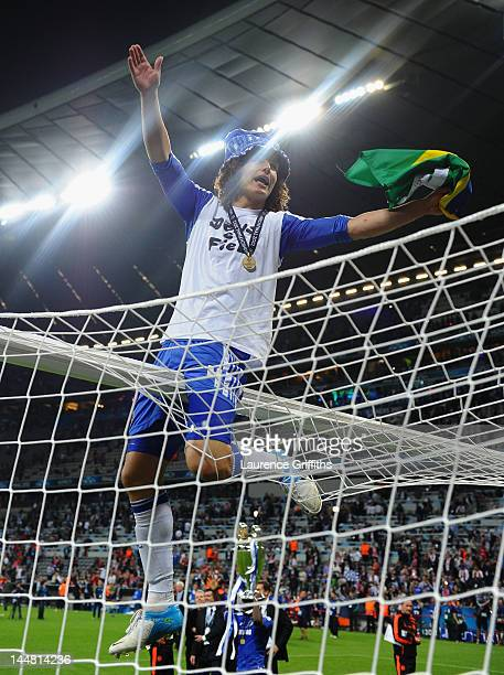 David Luiz of Chelsea celebrates after their victory in the UEFA Champions League Final between FC Bayern Muenchen and Chelsea at the Fussball Arena...