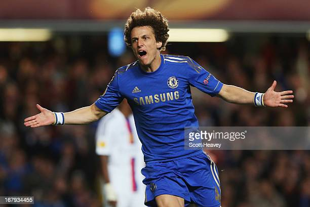 David Luiz of Chelsea celebrates as he scores their third goal during the UEFA Europa League semifinal second leg match between Chelsea and FC Basel...