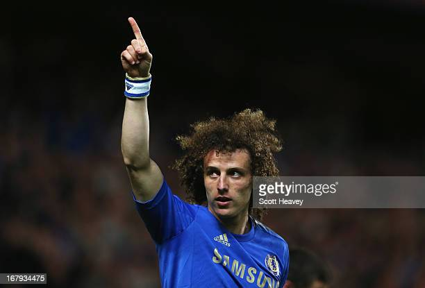 David Luiz of Chelsea celebrates as he scores their third goal during the UEFA Europa League semi-final second leg match between Chelsea and FC Basel...